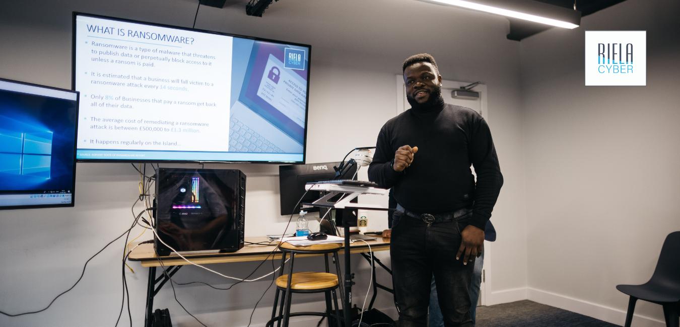 Joseph Ikhalia presenting the live cyber attack